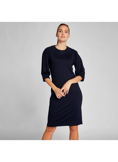 Vekem-Limited Edition Truvakar Kol Örme Elbise Lacivert